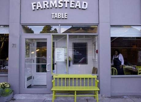 NEWTON, MASSACHUSETTS -- 09/11/2012 -- The Farmstead Table is a restaurant that recently opened in Newton Centre in Newton. Brian Feulner for the Boston Globe